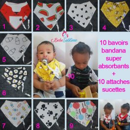 Lot de 10 bavoirs bandana BabyAreuh + attaches-sucettes