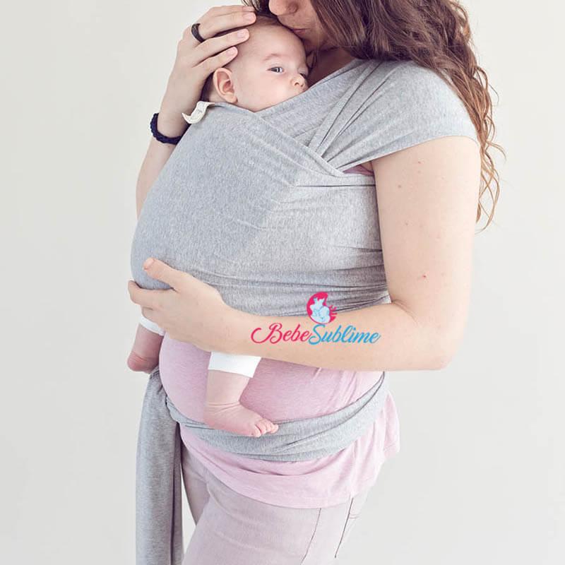 écharpe porte bébé gris foncé